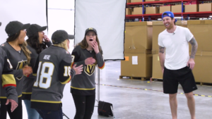 One of our clients: Fanatics/Jersey Filmmaker. Video project of NHL player James Neal surprising fans at Fanatics fulfillment center.